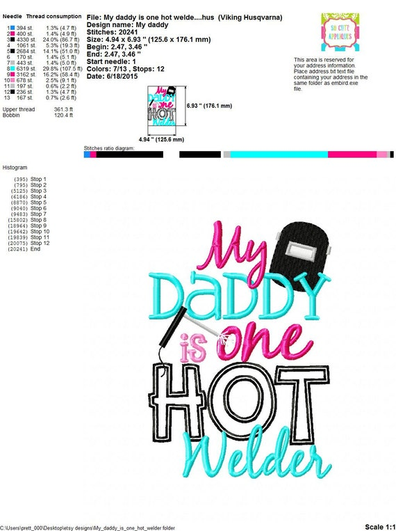 Daddys girl embroidery design my daddy is hot welder new