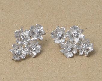 Cubic Flower Earrings, 925 Silver Post, Jewelry Craft Supplies, Matte Rhodium Plated over Brass - 2 Pieces-[BE0016]-MR