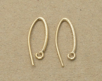 Basic Hook Earring Component, Jewelry Craft Supplies, Polished Gold Plated over Brass - 4 Pieces-[TH0004]-PG
