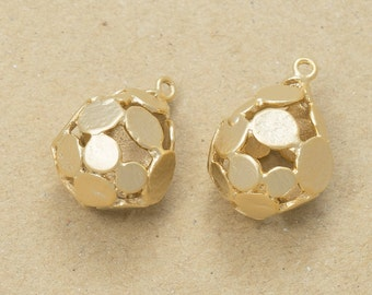 Teardrop Ball Pendant, Jewelry Craft Supplies,Earring Making, Handmade Jewelry, Matte Gold Plated Over Brass - 2 Pieces-[AP0070]-MG