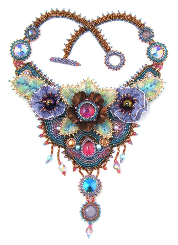 Items similar to garden party bead embroidery necklace