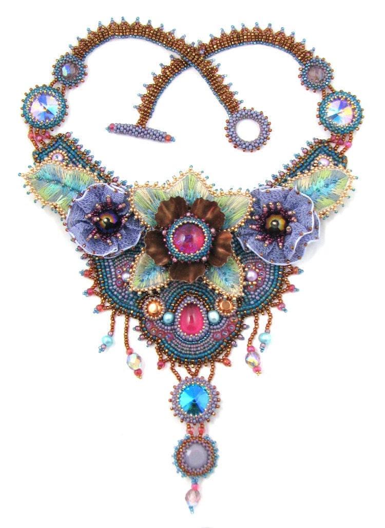 Garden party bead embroidery necklace instant download pattern