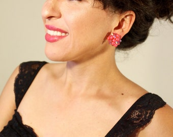 Barbie Hot Pink Vintage Beaded Clip On Earrings