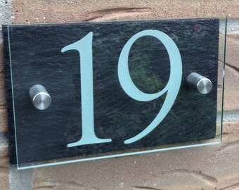 Modern Slate & Acrylic House Number Street Sign 150x95mm
