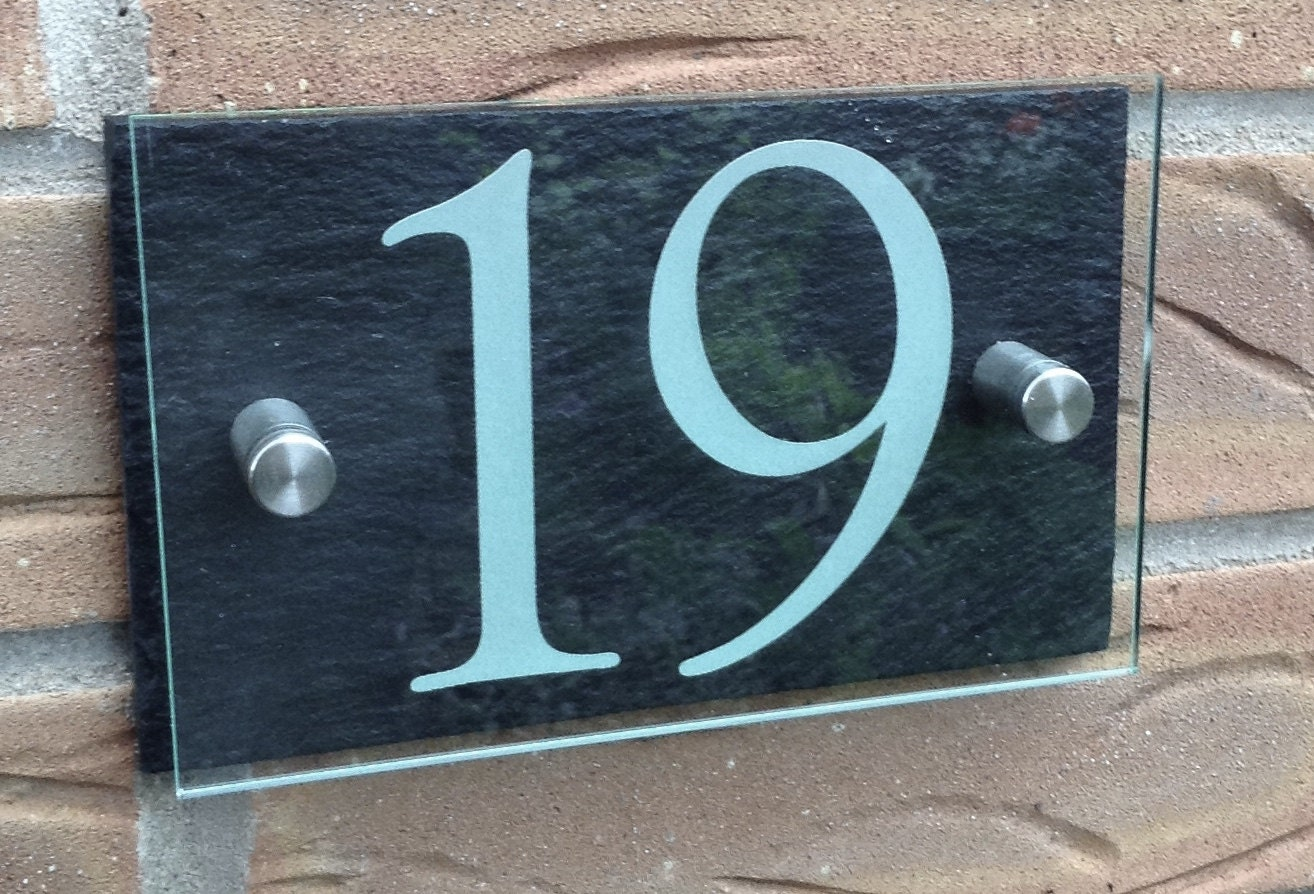 modern slate acrylic house number street sign 150x95mm. Black Bedroom Furniture Sets. Home Design Ideas