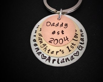 Hand Stamped Key Chain for Dad, Key Chain for Dad, Personalized Key Chain for Dad, Father's Day Gift, father's day
