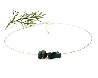 Malachite delicate necklace dainty choker natural malachite jewelry delicate choker green stone necklace dainty jewelry stone jewelry shikky