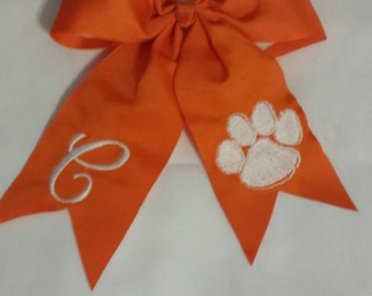 Orange Hairbow with initial and Tiger Paw