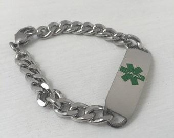 Personalized Medical Alert ID Bracelet - ID Bracelet - Steel Curb Chain Medical ID Bracelet
