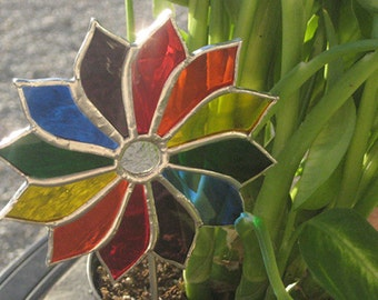 Stained Glass Rainbow Pinwheel Suncatcher