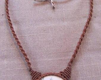 Macrame necklace Handmade jewelry Howlite Gemstone
