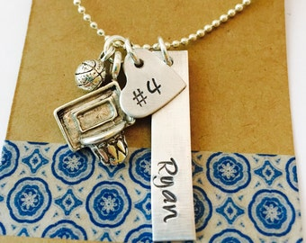 Basketball Necklace, Hand Stamped Basketball Necklace, Basketball Mom Necklace, Basketball Team, Girls Basketball Necklace , Personalized