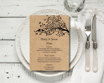 Custom Wedding Menu, Rustic Kraft Birdie Wedding Menu, wedding menu template, digital PDF, you print, DIY