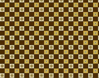 Dear Jane - Brown and Yellow Check Fabric - Fat Quarter Only