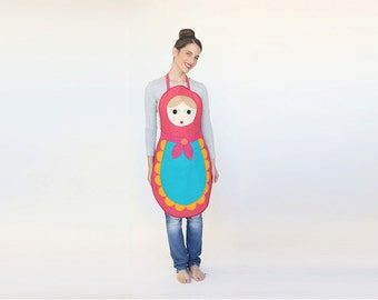 Womens Babushka apron, gift for her, hostess gift,  Hosting ware, russian doll apron, handmade costume,  Xmas gift