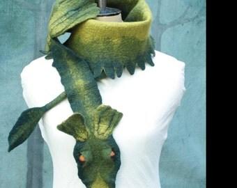Dragon Scarf - Green Dragon Scarf - Hand Felted Wool Dragon - Green Dragon