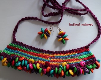 Ethnic jewelry set, mexican colours, tribal necklace, crochet beads, earrings beads, color necklace, crochet necklace, unique gift