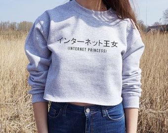 Internet Princess Cropped Sweater Japanese Blogger Fashion Jumper Crop Top Girl Gamer