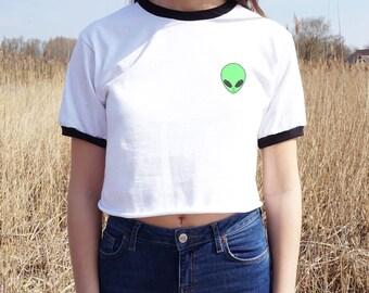 Alien Head Face Crop Ringer Tee T-Shirt Fashion Top Shirt