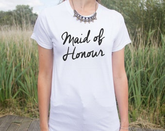 Maid Of Honour T-shirt Top Slogan Fashion Wedding Gift Bride Flower Girl  Bachelorette Hen Do Party