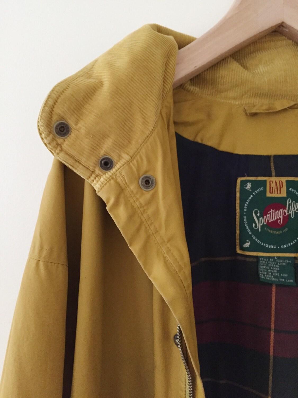 vintage gap mustard yellow jacket anorak with plaid lining