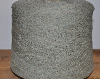 1 spool 1 kg 100 bourette silk yarn green Nm 30/1 on paper cone 300 den