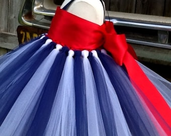 Red white and blue color tutu dress & removable sash, patriotic dress, special occasion dress, dress up