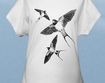 Barn swallows - hand screenprinted women t-shirt