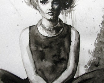 Original Ink Drawing Of A Young Woman, Size 30 cm x 40 cm
