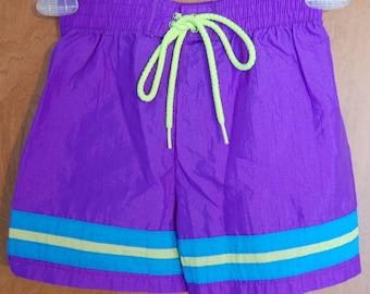 FREE SHIPPING vintage SPEEDO purple swim trunks bathing suit Boys/Youth Medium