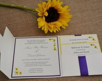 Sunflower Floral Pocket Wedding Invitation