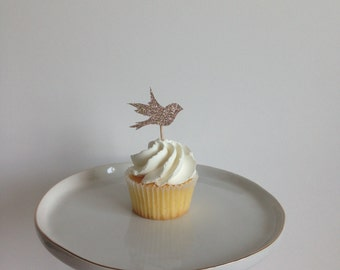 Glitter Bird Cupcake Toppers