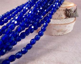 COBALT MINIS 4mm Firepolish Cobalt Czech Glass Faceted Rounds - Cobalt Blue Beads Royal Blue Beads Navy Blue Beads - Qty 50 4-044