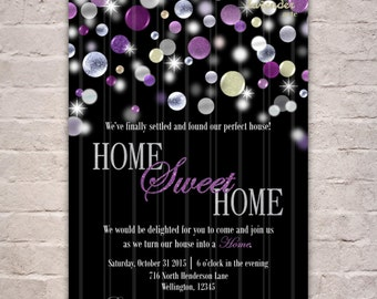 Silver Purple Glitters Housewarming Party Invitation, Purple Glitter House Warming Invite, New Home, Moving, DIY Printable Digital