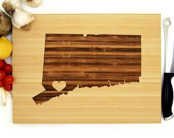 Personalized Wedding Gift, Custom Engraved Cutting Board, Connecticut State with Heart, Anniversary Gift, Bridal Shower, Engagement Gift