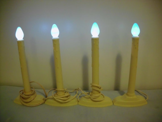 4 Electric Christmas Candles Window Candoliers