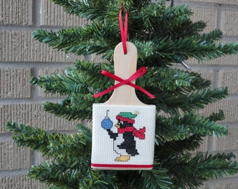 Completed Cross Stitch Christmas Ornament Wood Paddle