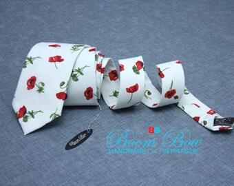 Mens Ties TC089 BoomBow tie Floral tie Red Poppies necktie Handmade Cotton Men's necktie