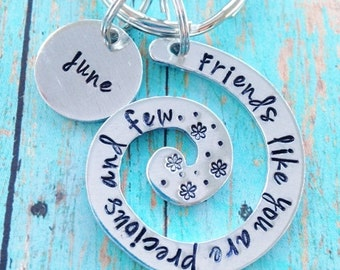 Friends like you are precious and few Swirl Key Ring Aluminum Round Friendship Graduation Keychain