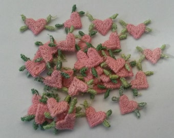 20 Pieces Small Tiny PINK heart applique patch sew on Mini hearts