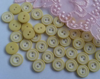 10 Pieces 10mm White and Yellow Sewing Buttons Plastic 2 Holes