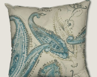 Pillow cover, decorative cushions in Eclosion Blue fabrics, several sizes