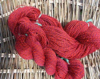 Handspun Cerise Pink and Orange Yarn for Knitting, Crochet and Crafts