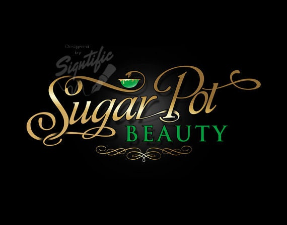 Beauty Salon Logo Custom Business Gold And Green Cursive Lettering Design Sign