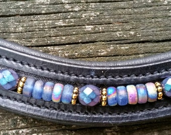 Peacock Cichlid: Dressage horse browband w/ blue czech glass beads, vitrail beads, and silver spacers sewn into the browband of your choice