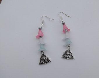 Pentagram and flower earrings