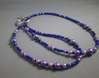 """blue seed bead and purple pearl key or ID beaded lanyard 30"""" to 42""""  plus attachment, your choice of attachment:ID clip or key clip"""