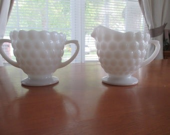 Fire king bubble creamer and sugar set