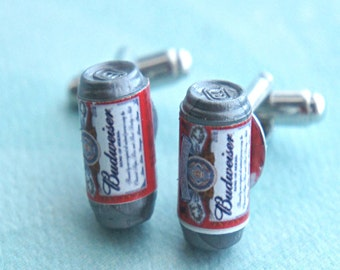 beer can cuff links- miniature food, tie tacks