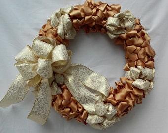Gold Christmas Ribbon Wreath